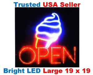Large Open Ice Cream Cone Yogurt Signs Led Neon Business Motion Light Sign With