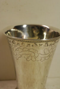 Silver Antique Beaker Possibly From Sweden 18 Th Century Assay Scratch