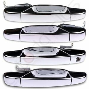 Chrome Outer Outside Exterior Door Handle Set 4 Kit For 07 13 Chevy Pickup Truck