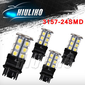 4 X 6000k White 3157 3156 24 Smd Led Tail Brake Stop Backup Reverse Light Bulbs