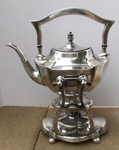Vintage Silver Plate Tea Pot On Warming Stand