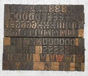 116 Piece Vintage Letterpress Wood Wooden Type Printing Blocks 25 M m bc 1995