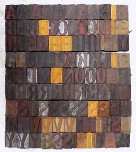 110 Piece Vintage Letterpress Wood Wooden Type Printing Blocks 50m m bc 4019