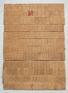 239 Piece Vintage Letterpress Wood Wooden Type Printing Blocks 34 M m bc 2015