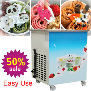 Us Plug With 1 Pan Food Grade Fried Ice Cream Roll Machine fried Ice Cream Maker