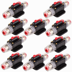 10x 100amp Dc12v Car Stereo Audio Circuit Breaker Inline Fuse Holder Waterproof