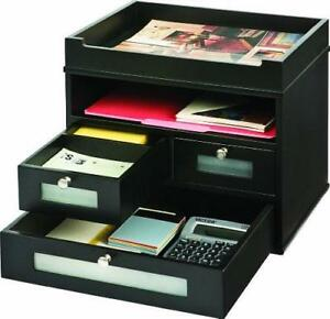 Victor Wood Midnight Black Collection Tidy Tower Desktop Organizer Black