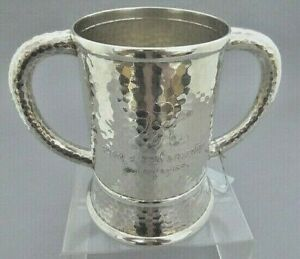 Tiffany Co Sterling Silver Monogram Hammered Wine Cooler Loving Cup 2 Handle