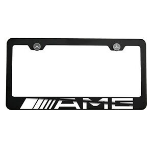 Matte Black Laser Etched amg Mirror License Plate Frame Cover Holder Screw Cap
