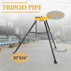 Portable 6 Tripod Pipe Chain Vise Stand W Large Base Overhangs Front Legs