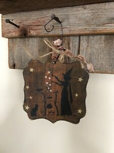 Primitive Halloween Retro Small Wood Sign Greeter Vintage Style Cat Witch Hp