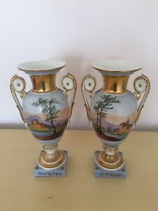 Antique Old Paris Porcelain Hand Painted Empire Style Gilt Urns C1840 50 Pair