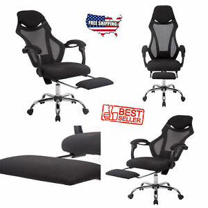 Executive Office Chair High Back Reclining Black Mesh Footrest Computer Desk