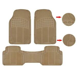 Rubber Car Floor Mats For All Weather Semi Custom Fit 2 Front 1 Rear Piece Beige