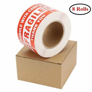 8 Rolls 3x5 Fragile Sticker Handle With Care Shipping Packing Label 500 roll Red