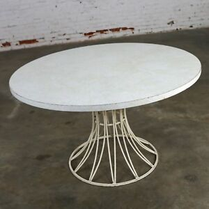 Mid Century Modern Round Wrought Iron Patio Dining Table Style Of Arturo Pani