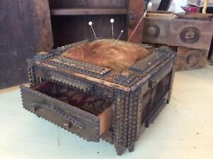 7x7 Victorian Tramp Art Dresser Box Sewing Box Pincushion Drawer Velvet Panels