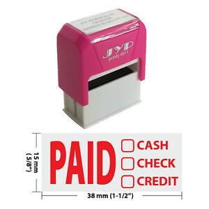 Paid Cash Check Credit Jyp 4911r Self Inking Rubber Stamp red Ink