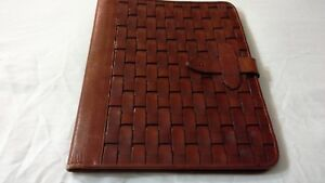Etienne Aigner Brown Woven Genuine Leather Front Writing Pad Tablet Folio Unique