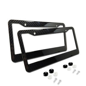 2xuniversal Carbon Fiber Style License Plate Frames For Front Rear