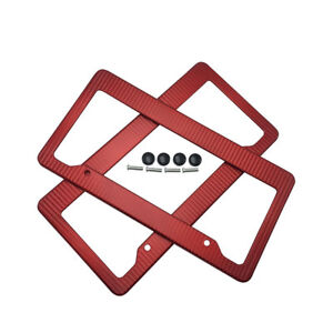 2 X Jdm Red Carbon Fiber Look License Plate Frame Cover Front Rear Universal 2