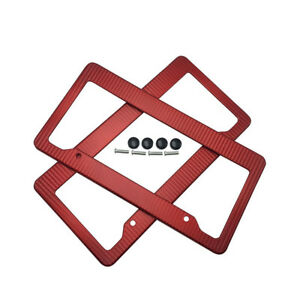 2pcs Plastic Red Carbon Fiber Style License Plate Frames Front Rear Bracket