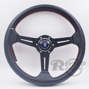 Nardi Nd Style 14 350mm Black Leather Red Stitch Racing Steering Wheel W Horn