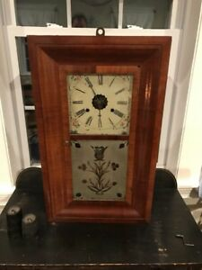 Antique Vintage Mid 19th C New Haven 30 Hour Weight Clock Reverse Frosted Door