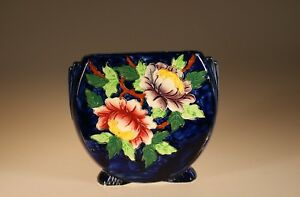 Maling China Art Deco Hand Painted Round Cobalt Floral Vase England C 1929