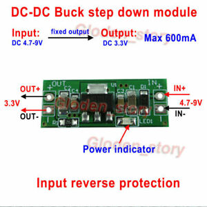 100pcs Mini Dc dc Buck Step Down Converter Volt Regulator 5v 6v 9v To 3 3v 600ma