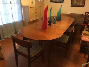 Mid Century Modern Dining Set Chairs And Dining Table Teak