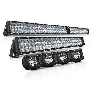 12 Inch 544w Slim Cree Dual Row Spot Led Offroad Light Bar Jeep Boat Pk 20 21