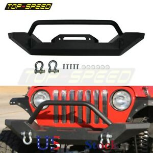 Car Front Bumper Winch 4 75 Ton D Ring Textured For Jeep Tj Yj Wrangler 1987 06