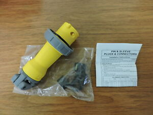 Hubbell Hbl320p4w Pin And Sleeve Iec Plug 2 Pole 3 Wire 20 Amp 125 Volts