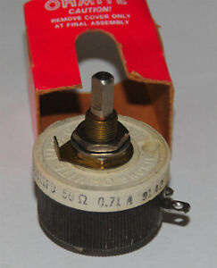 Ohmite Mfg co Wirewound Rheostat 50ohms 71amps 25w Mil