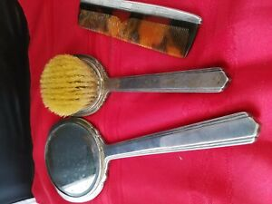 Vtg 3 Pcs Sterling Silver Dresser Set Mirror 13 5 Brush 10 5 Comb 7 25 630g