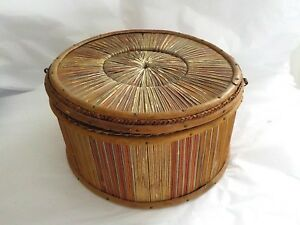 Sewing Basket Grass Straw Vintage Antique