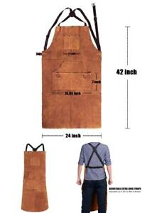 Leather Welding Apron Heat Flame resistant Heavy Duty Work Apron With 6
