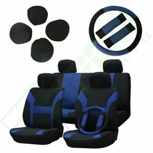 New Blue black Car Seat Cover W headrest steering Wheel belt Pads For Mitsubishi