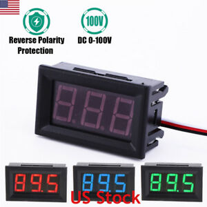3 50pcs Mini Red Blue Green Led Dc 100v Voltmeter Gauge Voltage Volt Panel Meter