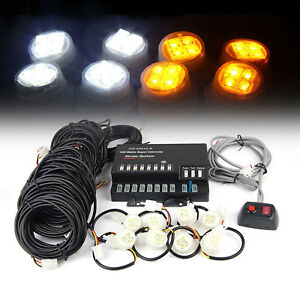 160w 8 Led Bulbs Hide White Emergency Hazard Warning Strobe Light System Kit Haw