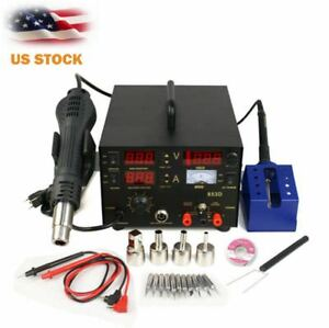 853d 3in1 110v Dc Power Supply Smd Rework Station Soldering Hot Air Gun Welder