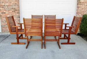 Set 6 Vtg Mid Century Danish Modern Solid Wood Teak Dining Chairs Sculptural Mcm