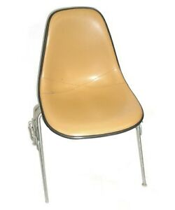 Herman Miller Leather Bucket Chair Stackable W chair to chair Interlock Legs 2