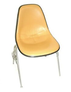 Herman Miller Leather Bucket Chair Stackable W chair to chair Interlock Legs 5
