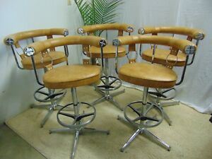 Vintage Mid Century Modern Bar Stools By Daystrom Set Of 5