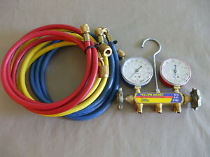Yellow Jacket Series 41 Brass Manifold And Hoses With Instructions