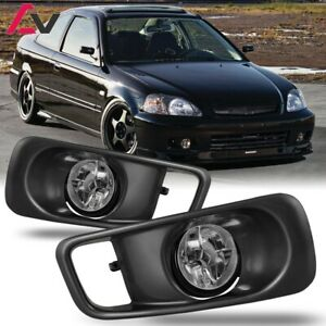 For 1999 2000 Honda Civic Fog Lights Wiring Switch And Bezels Clear Lens
