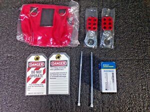 Brady Portable Lockout Kit Filled Electrical Lockout Pouch Red 105969 k