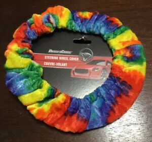 Racing Rainbow Driver Tie Dye Soft Plush Fuzzy Auto Car Steering Wheel Cover 3